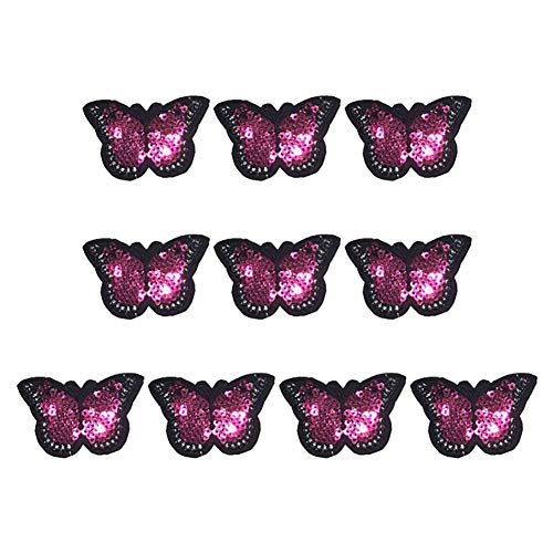 Qinlee 10PCS Butterfly Sequin Cloth Patch Pattern Applique Decorative Seam DIY Patch Jeans Coat Clothing Handbags Shoes Hat Sewing Flower Applique Clothes Accessories (Rose ()