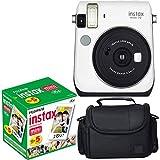 Fujifilm Instax Mini 70 - White Instant Film Camera With Fujifilm Instax Mini 5 Pack Instant Film (50 Shots) + Compact Bag Case - International Version (No Warranty)