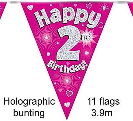 14th Birthday Party Multi Coloured Holographic Flag Bunting Banner Decoration