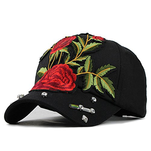 [D-Sun Unisex Fashion Rose Floral Embroidery Baseball Sun Denim Cap Adjustable Baseball hat (One Size, Black)] (Denim Embroidered Cap)