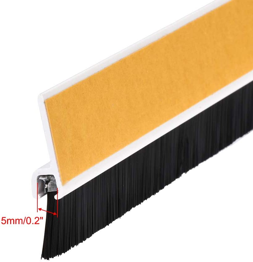 1000mm x 46mm uxcell Door Bottom Sweep Coffee h-Shape PVC Holder w 0.98-inch Black PP Nylon Soft Brush Approx 39.37-inch x 1.81-inch