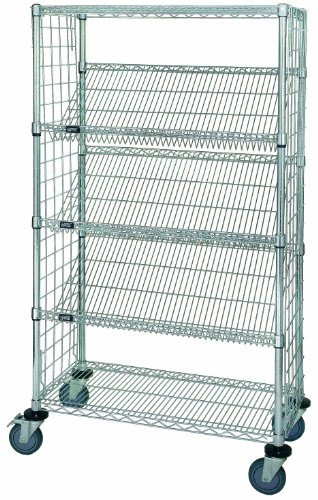 Quantum Storage Systems WRCSL5-63-1836EP 5-Tier Slanted Wire Shelving Suture Cart, Enclosed, 2 Horizontal and 3 Slanted Shelves, Chrome Finish, 69
