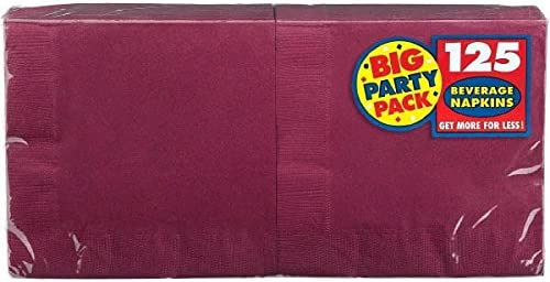 Big Party Pack Berry Red Beverage Napkins   Pack of 125   Party Supply