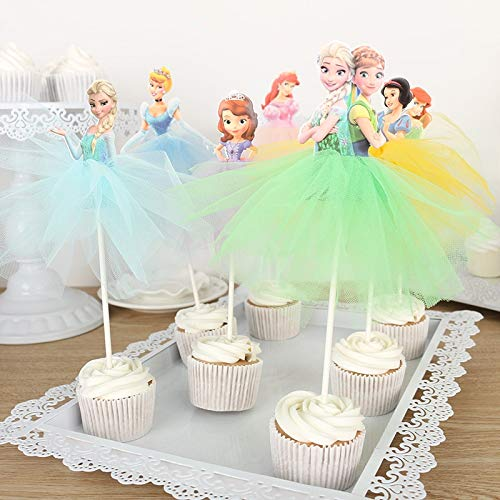 Cupcake Toppers - 10 x princess cake topper decoration yarn dress rapunzel/elena of avalor cupcake toppers girl's birthday wedding party supply