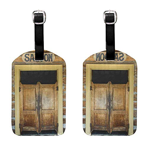Luggage Suitcase Tags Saloon Decor Collection,Authentic Saloon Doors Of Old Western Building In Montana Ghost Town Image Print,Sienna Cream Brown Luggage Suitcase