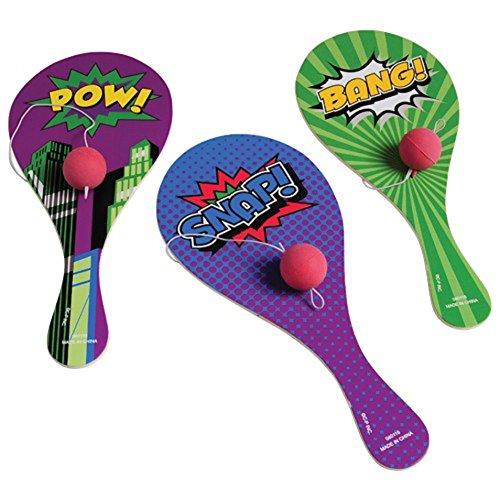 Lot Of 12 Assorted Super Hero Comic Book Design Classic Wood Paddle Ball Games