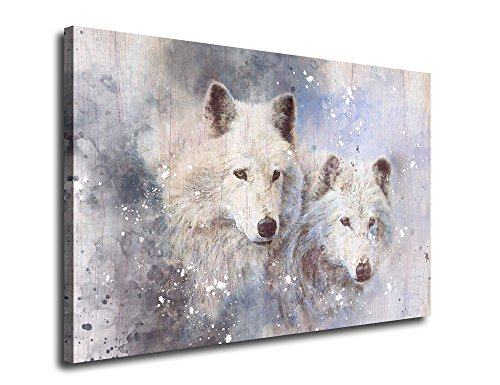 Framed Wolf Pictures (Canvas Wall Art Two Wolf Portrait Painting Canvas Artwork Animal Picture Canvas Prints 24