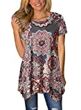 loose fitting tops for women - FARYSAYS Women's Casual Floral Print Tunic Loose Fitting Tops Short Sleeve T-Shirt Brown XX-Large