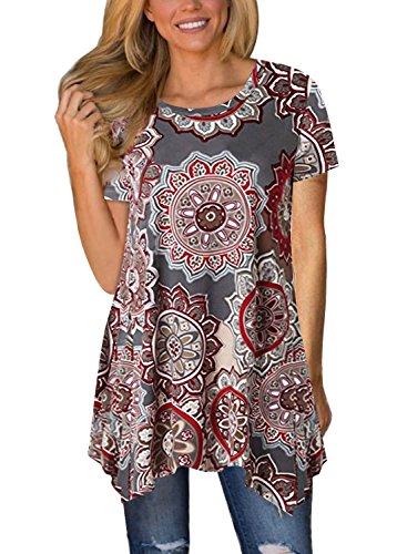 Dokotoo Womens Casual Summer Short Sleeve Crewneck Floral Print Irregular Hem Asymmetrical Loose Tunic Shirts Tops Blouse Brown - Floral Crewneck Top Print