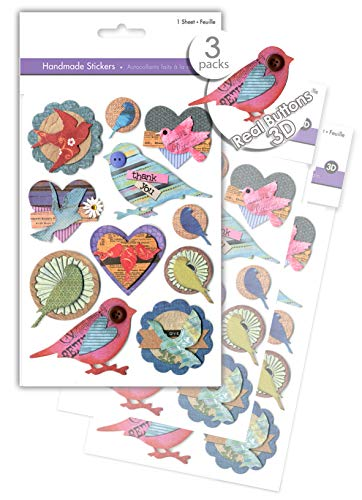 3 Pk Craft Bird Stickers, Scrapbook Stickers Embellishments with Real Button Accents, 3D Dimensional Stickers, Handmade Paper Stickers, Pop-up Stickers, Layered Stickers