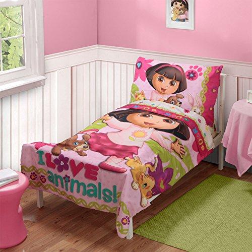 [Dora the Explorer Pets 3pc Toddler Bedding Set with Matching Pillow Case, 100% Polyester] (Dora Explorer Toddler Bedding Set)