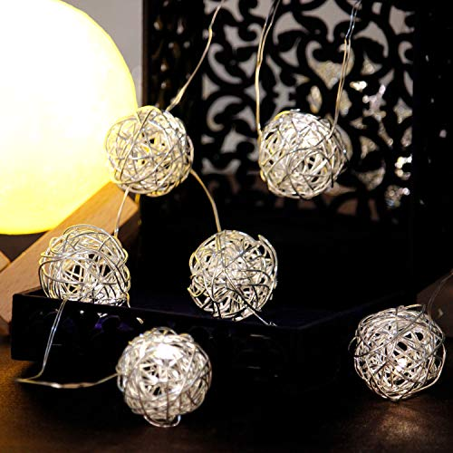 Impress Life Globe Rattan Ball Wedding String Lights, Plug in 10ft 15 LED Warm White Fairy Lights Battery Powered with Remote for Indoor, Bedroom, Fairy Garden, Home, Holiday, Christmas Tree, Party