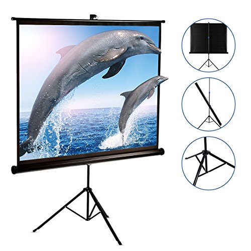 120 Inch Projector Screen with Foldable Stand Tripod, GBTIGER Diagonal HD 4:3 Pull Up Portable Indoor and Outdoor PVC Movie Screen with Wrinkle-Free Design 160° Viewing (Fast Fold Projection Screen)
