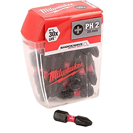Milwaukee Shockwave impacto puntas de destornillador PH2 x 25 mm ...