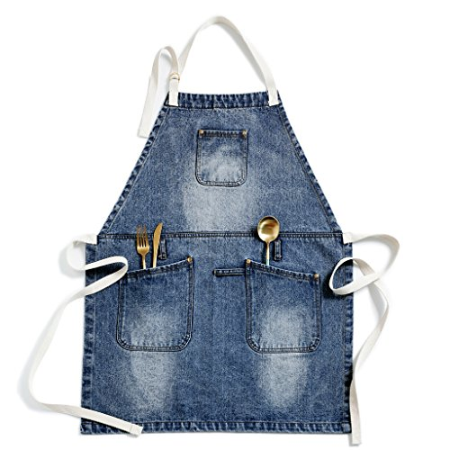 Jeanerlor European cowboy Heavy Duty Denim Work Apron with Towel Loop + Tool Pockets + Neck Straps and Adjustable up to XXL for Men and Women for kitchen, baking, coffee (Heavy Duty Denim Aprons)