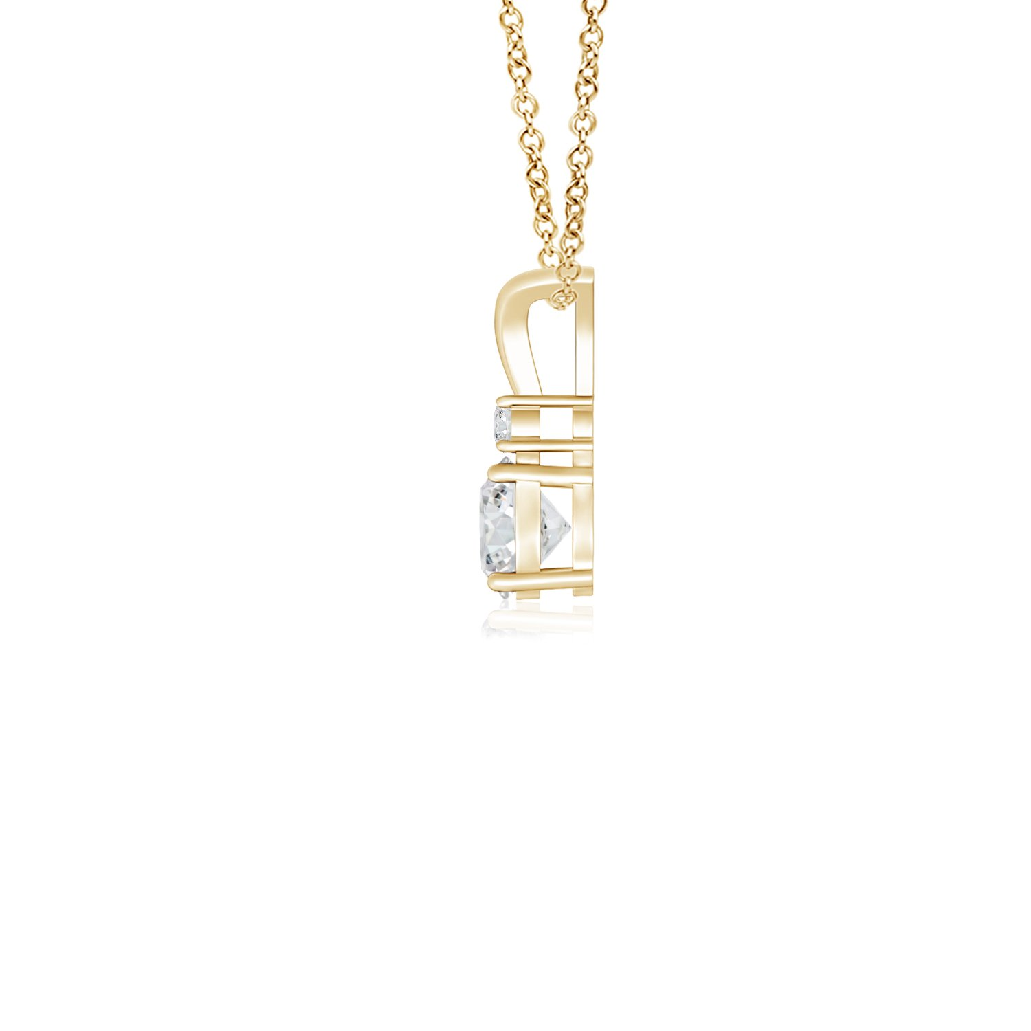Valentines Offer V-Bale Round Lab Grown Diamond Solitaire Pendant in 14k Gold Pure Ignis PI-P-PSP1078D-YG-HSI2-4.1