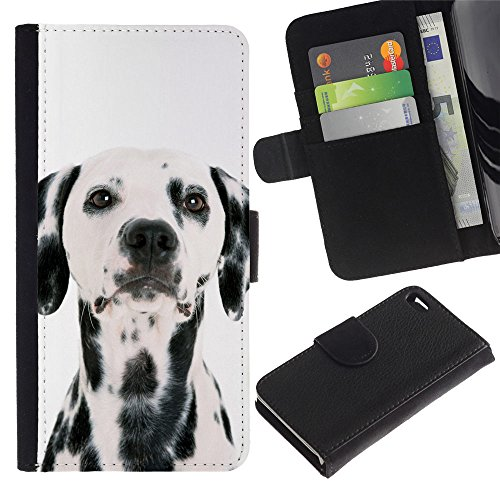 OMEGA Case / Apple Iphone 4 / 4S / Dalmatian dog white black spots breed / Cuir PU Portefeuille Coverture Shell Armure Coque Coq Cas Etui Housse Case Cover Wallet Credit Card