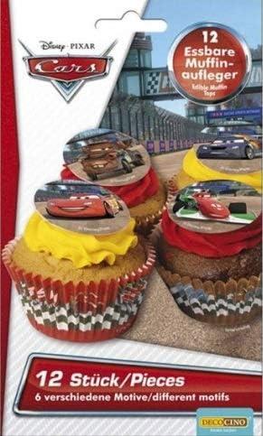 Decocino 32717 Cars Edible Sugar Disc Cupcake Cake Toppers x12