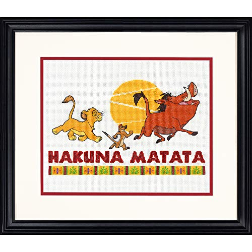(Dimensions Disney's The Lion King 'Hakuna Matata' Counted Cross Stitch Kit for Beginners, 14 Count White Aida Cloth, 10'' x)