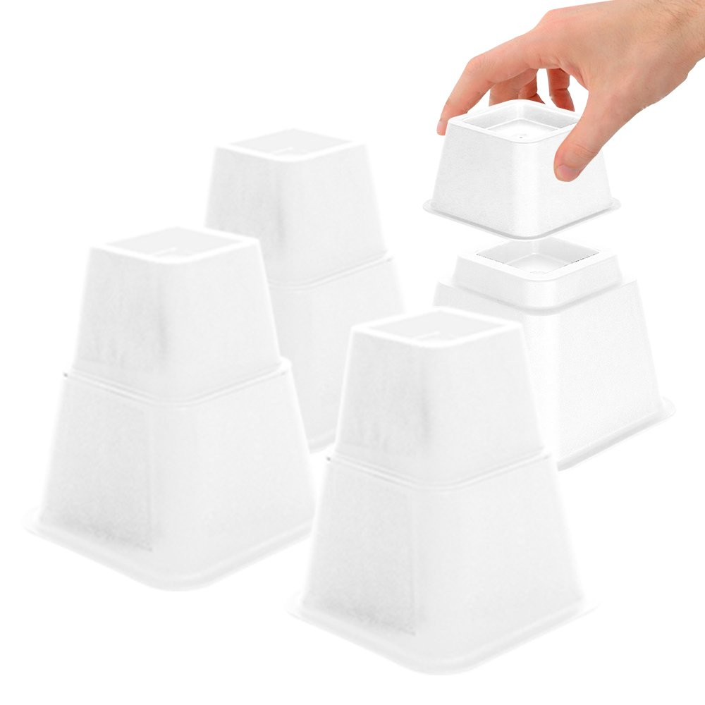 DuraCasa Bed Risers - Raises Your Bed or Furniture to Create Up to an Additional 8 Inches of Storage! Reinforced New Heavy-Duty Design to Hold Over 2000 LBS! Desk, Sofa, and Chair Lift (White)
