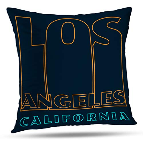 Kutita California West Coast Decorative Pillow Covers, Theme California Shirt Banner Flyer America Badge Banner Black Throw Pillow Decor Bedroom Livingroom Sofa 18X18 inch ()