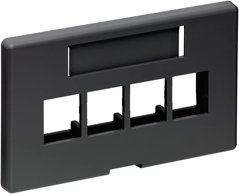 Black Leviton 49910-EE4 4-Port QuickPort Extended Depth Modular Furniture Faceplate