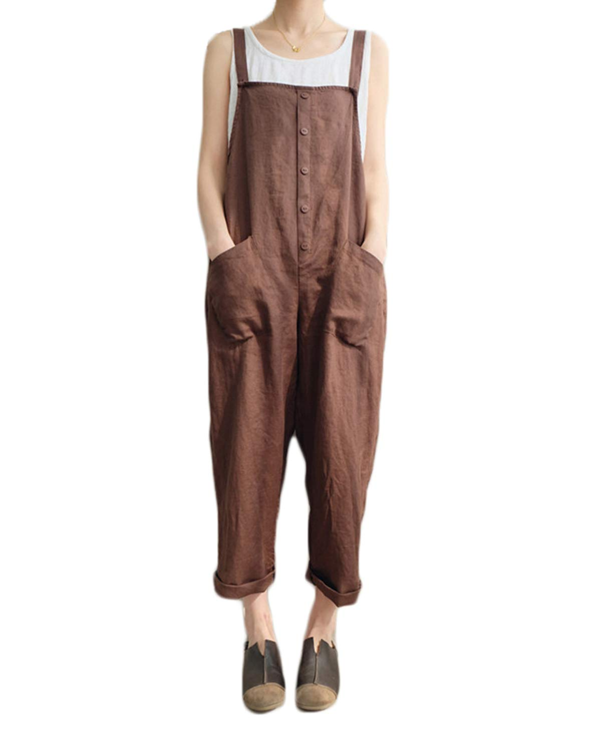 Celmia Women's Strappy Jumpsuits Overalls Casual Harem Pants Wide Leg Low Crotch Loose Trousers Coffee L