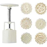Mooncake Fodant Gift DIY Moon Cake Mold 6 Flower Plant Stamps Decor Mould (Round)