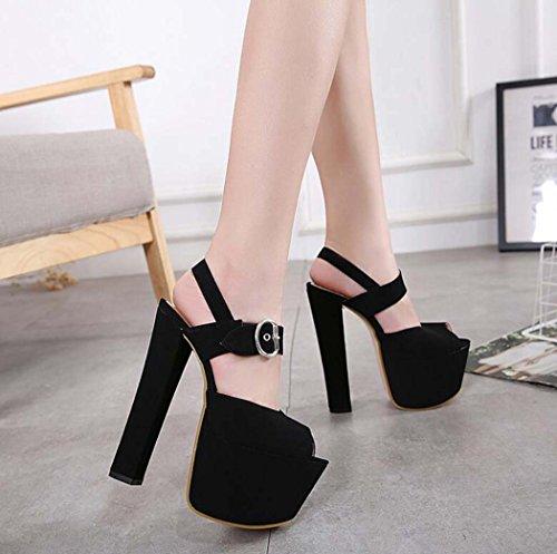 Plataforma Negro Talla de Color Zapatos con Mujer 35 Beige Negro Alto Tamaño 34 de Tacón 40 Peep Sandalias Toe XZ7wxqzzP