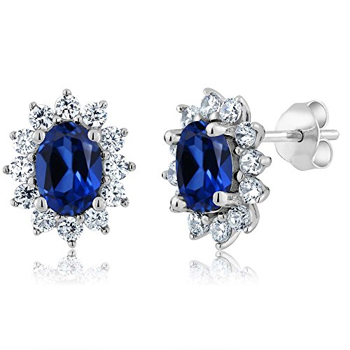 3.00 Ct 7X5MM Oval Blue Simulated Sapphire 925 Sterling Silver Women's Stud Earrings by Gem Stone King