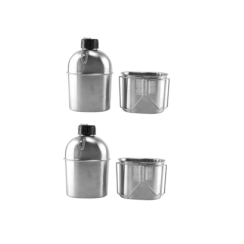 con Mango Plegable Taza De Agua De 0.6 litros Utensilios De Cocina Par Toygogo 2 Juegos De Ollas para Hervidor De Mochilas para Acampar Tetera De 1 Litro