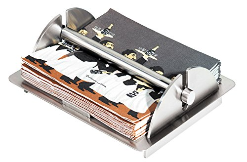 Oggi 7066 Stainless Steel Napkin Holder with Lift Bar and Rubber Feet
