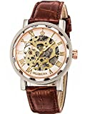 GuTe Steampunk Bling Skeleton Mechanical Hand-wind Wristwatch Silver Rose-gold Case