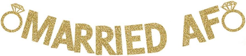 Married AF Banner, Fun Wedding Party Gold Gliter Paper Sign Backdrops