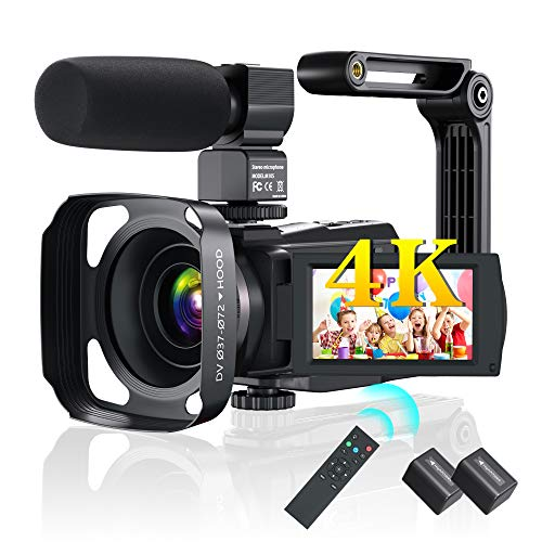 Ultra 4K 60FPS 48MP Video Camera Camcorder YouTube Vlogging 16X Digital 3.0 in IPS Touch Screen Zoom IR Night HD Vision Camcorder with Microphone,2.4 G Remote,Stabilizer,Hood,Batteries
