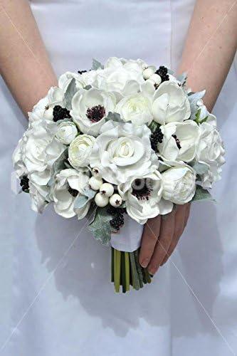 Amazon Com White Real Touch Anemone Rose Ranunculus Wedding