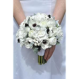White Real Touch Anemone Rose & Ranunculus Wedding Bouquet 109