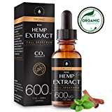 Organic Hemp Extract for Pain & Anxiety Relief (600MG), Cinnamint Flavor, Full Spectrum, Blended with Organic Hemp Seed Oil for Optimal Absorption, CO2 Cold Extracted, Rich in MCT Fatty Acids, 1oz