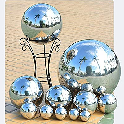 HomDSim 35cm/14inch Diameter Gazing Globe Mirror Ball, Thickness 0.5mm Silver Stainless Steel Polished Reflective Smooth Garden Sphere, Colorful and Shiny Addition to Any Garden or Home : Garden & Outdoor