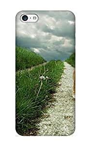 Charlesvenegas Design High Quality Lone Red And White Cat Walking Along Grassy Path Cover Case With Ellent Style For Iphone 5c(nice Gift For Christmas)