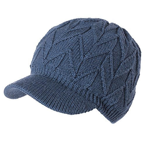 SIGGI Womens 100% Wool Knitted Hat with Visor Jeep Beanie Cold Weather Winter Newsboy Cap