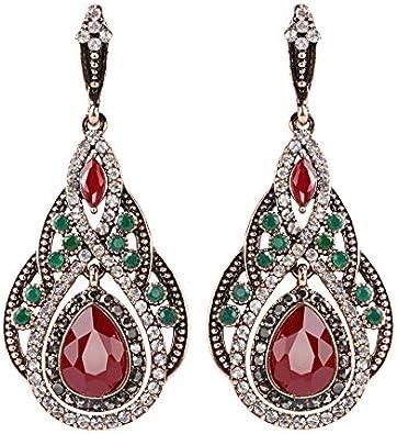 Pendientes de gota grande para las mujeres Bohemia colorida resina cristal flor pendientes oro antiguo color turco joyería