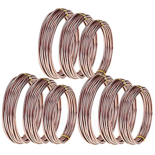 Nrpfell 9 Rolls Bonsai Wires Anodized Aluminum Bonsai Coaching Wire with Three Sizes (1.zero Mm,1.5 Mm,2.zero Mm),Whole 147 Ft (Brown)