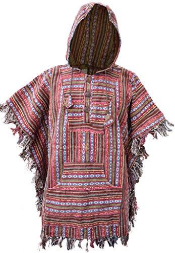 E Kathmandu de capucha estilo Little de con Poncho algodón Hippie BzOqR77E