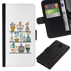KingStore / Leather Etui en cuir / Samsung Galaxy Note 3 III / Ollas Flores blanca minimalista Dibujo