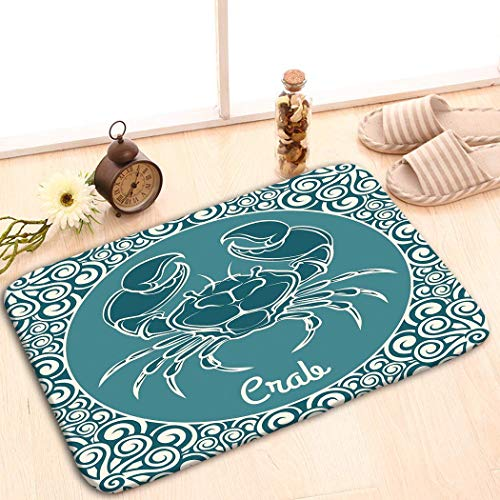 YGUII Fabric Rug Indoor/Outdoor/Front Door/Shower Bathroom Doormat Non-Slip Doormats 16X23.6in (40x60cm) inch Crab Logo Template Label Blue Ornamental