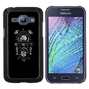 LECELL--Funda protectora / Cubierta / Piel For Samsung Galaxy J1 J100 -- Escudo de armas de muerte blanca Cráneo Negro --