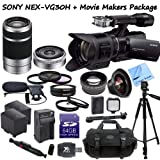 Sony NEX-VG30 Interchangeable Lens HD Handycam Camcorder With 18-200mm, 16mm f/2.8 & 55-210mm Lenses + CS Movie Makers Package: Includes Full Size Aluminum Tripod With Case, Boom Microphone, 64GB SDXC Memory Card, SD Card Reader, 2 Sony FV100 Replacement
