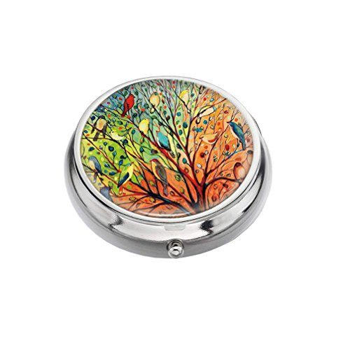 Compact Medicine - Rex Parker Pill Box -Compact 3 Compartment Medicine Case, Pill Box for Pocket or Purse(Trees and Colorful Birds),Circular