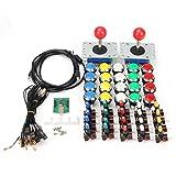 Fincos LED Arcade USB Joystick Push Button with Micro Switch USB Encoder DIY Kit